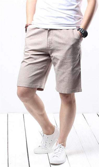 Men's Summer Cotton Straight Loose Knee-Length Shorts With Pockets