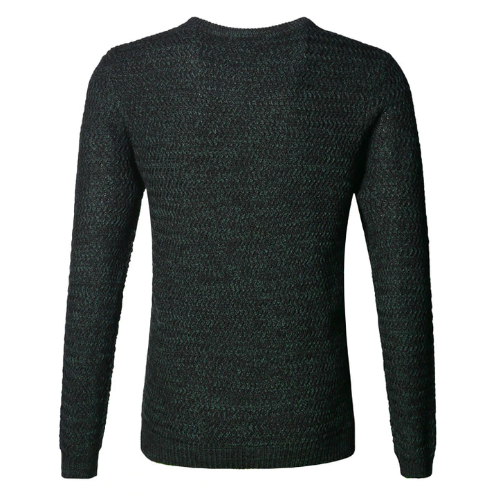 Men's Winter Round Collar  Slim Long Sleeve Casual Pullover