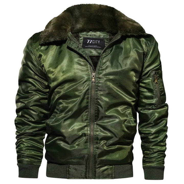 Men's Winter Warm Thick Thermal Cotton Down Bomber With Fur Collar