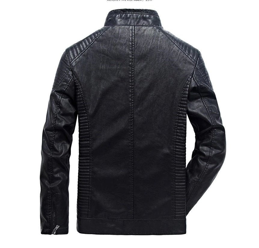 Men's Autumn/Winter PU Leather Motorcycle Jacket With Velvet Lining