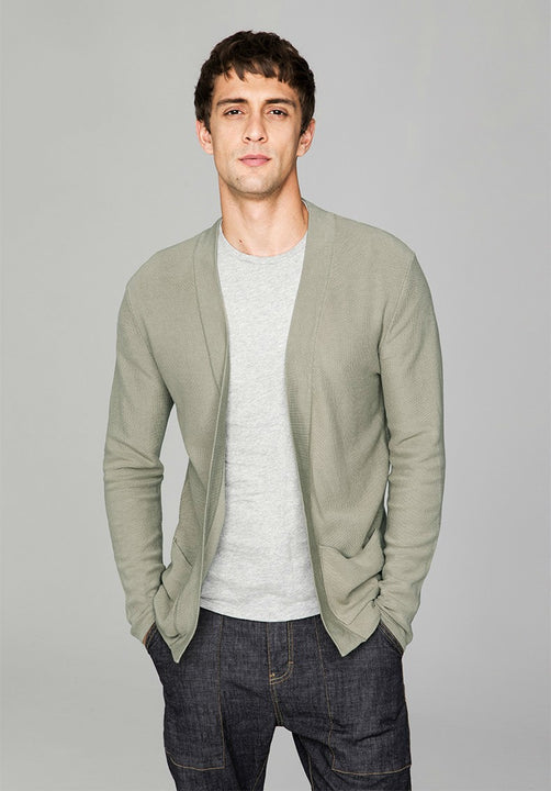 Men's Spring/Autumn Cotton Slim Fit Cardigan With Pockets