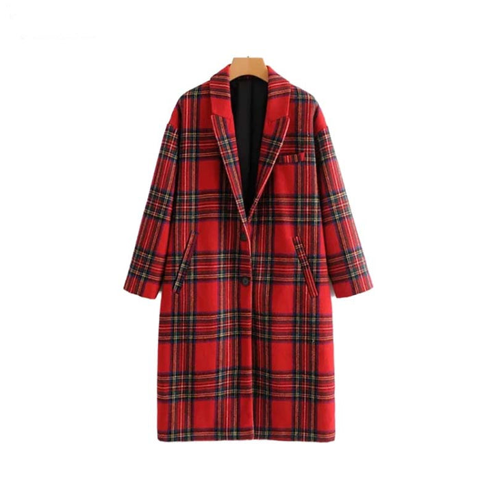 Women's Winter Warm Thick Plaid Woolen Loose Coat