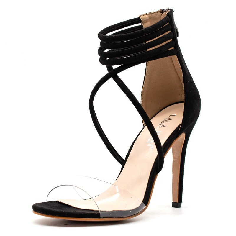 Women's Summer High-Heeled Transparent Gladiator Sandals