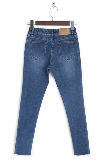 Women's Autumn Skinny Ankle-Length Striped Jeans