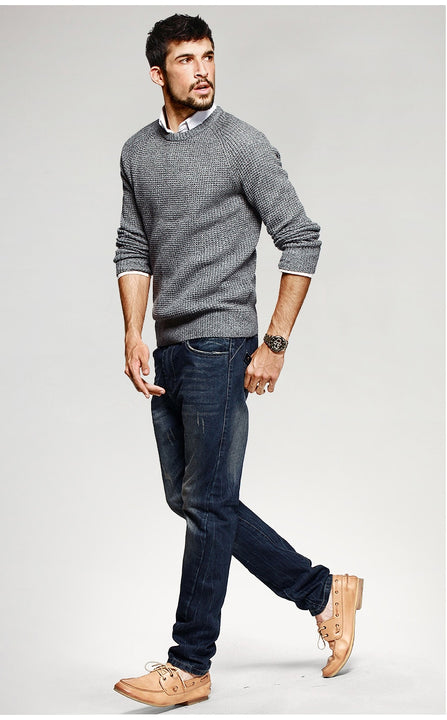 Men's Autumn Cotton Knitted O-Neck Pullover