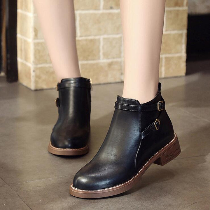 Women's Winter Casual Low-Heeled PU Leather Ankle Boots