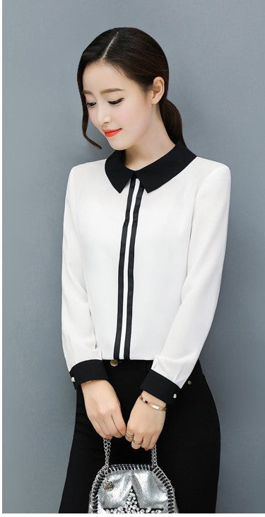 Women's Spring/Summer Chiffon Long-Sleeved Office Blouse