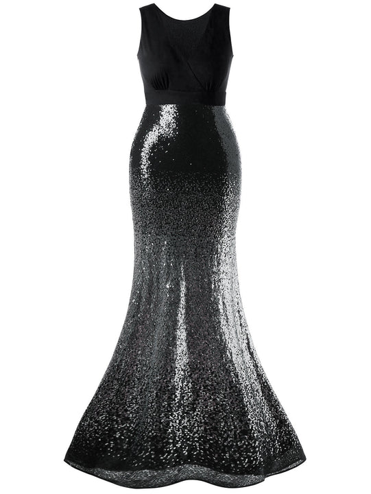 Women's Summer V-Neck Sleeveless Sequined Maxi Dress