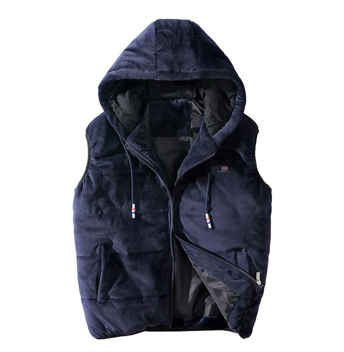 Men's Winter Thick Warm Hooded Velvet Vest
