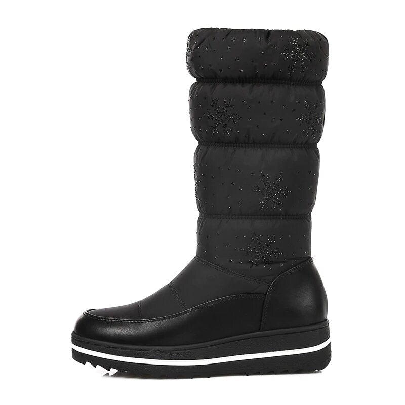 Women's Winter Thick Mid-Calf Snow Boots With Velvet Lining