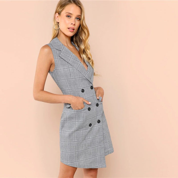 Women's Summer/Autumn Plaid V-Neck Wrap Dress