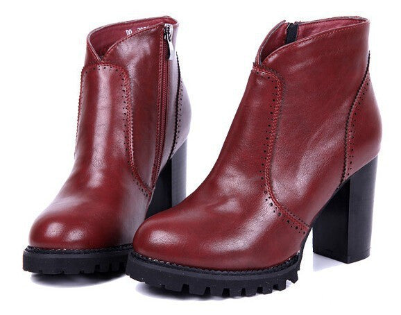 Square Heels Round Toe Casual Female Boots - Zorket