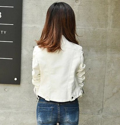 Women's Spring/Autumn Faux Leather Short-Collar Jacket
