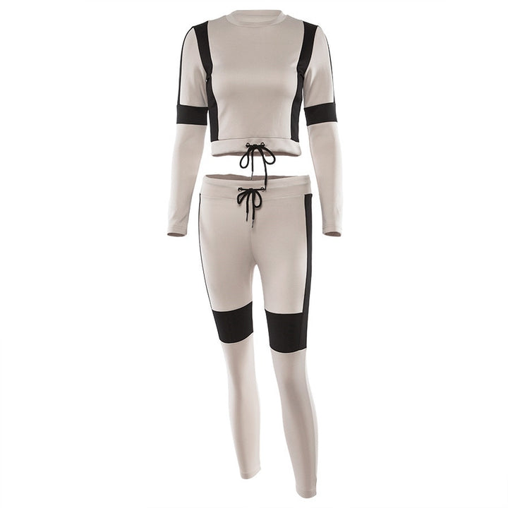 Women's Autumn/Winter Patchwork Long-Sleeved Two-Piece Sport Suit