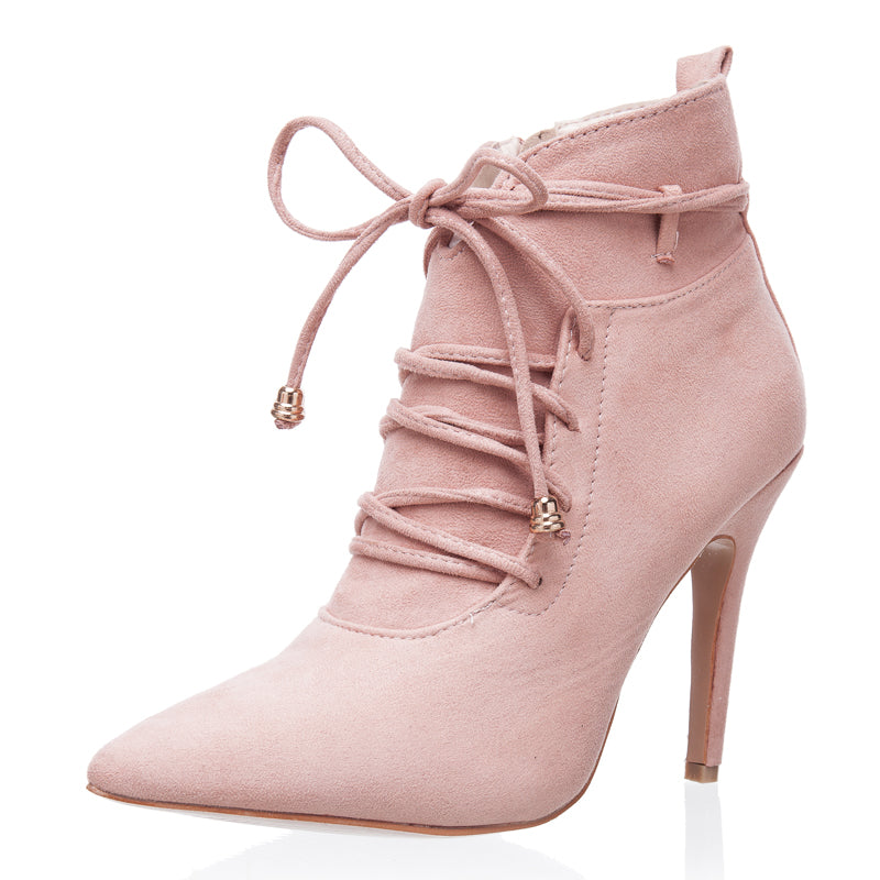 Women's Autumn/Winter Lace-Up High-Heeled Ankle Boots