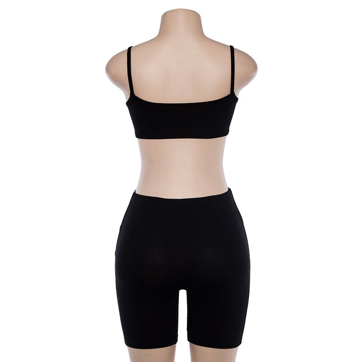 Women's Summer Sleeveless Strappy Two-Piece Sporting Set | Top & Shorts