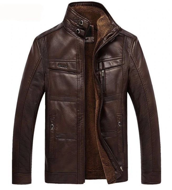 Men's Winter Thick PU Leather Thermal Jacket With Woolen Lining