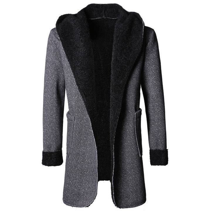 Men's Stylish Autumn Long Coat Of Artificial Wool - Zorket