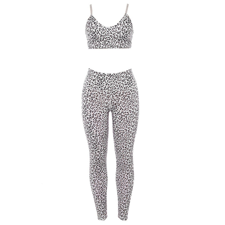 Women's Summer Leopard Print Fitness Set | Top & Leggings