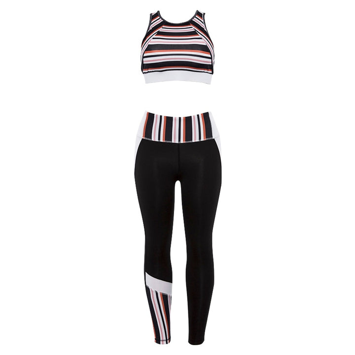 Women's Summer Fitness Set | Striped Tank Top & Leggings