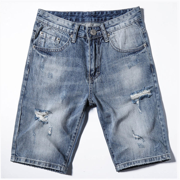 Men's Summer Cotton Ripped Denim Shorts
