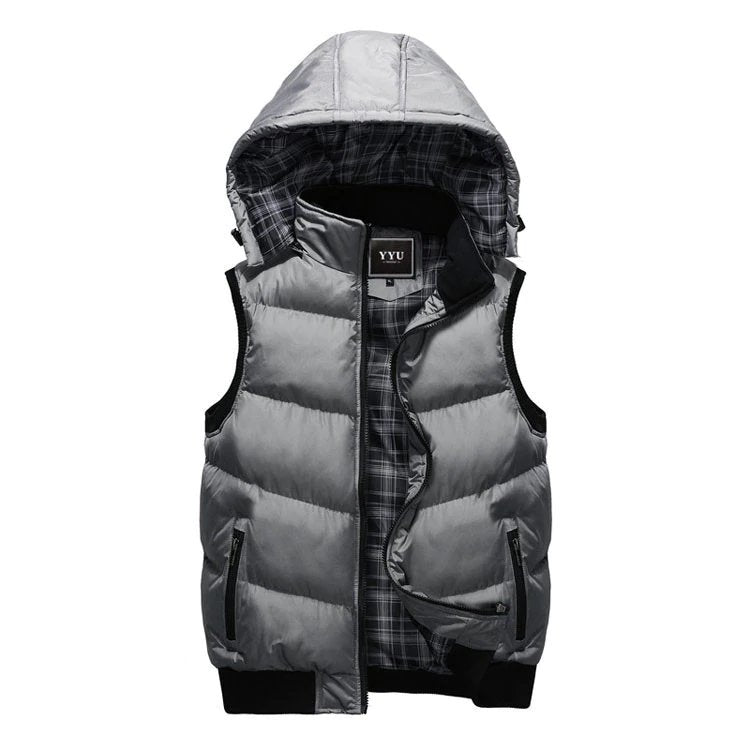 Men's Winter Warm Thick Multicolor Vest With Detachable Hood