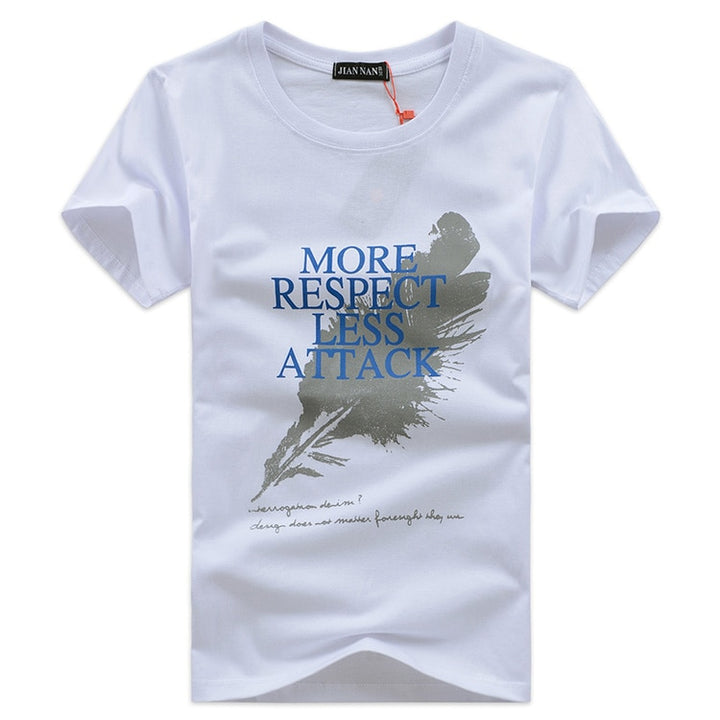 "Men's Summer Slim Fit T-Shirt With ""More Respect Less Attack"" Printing"