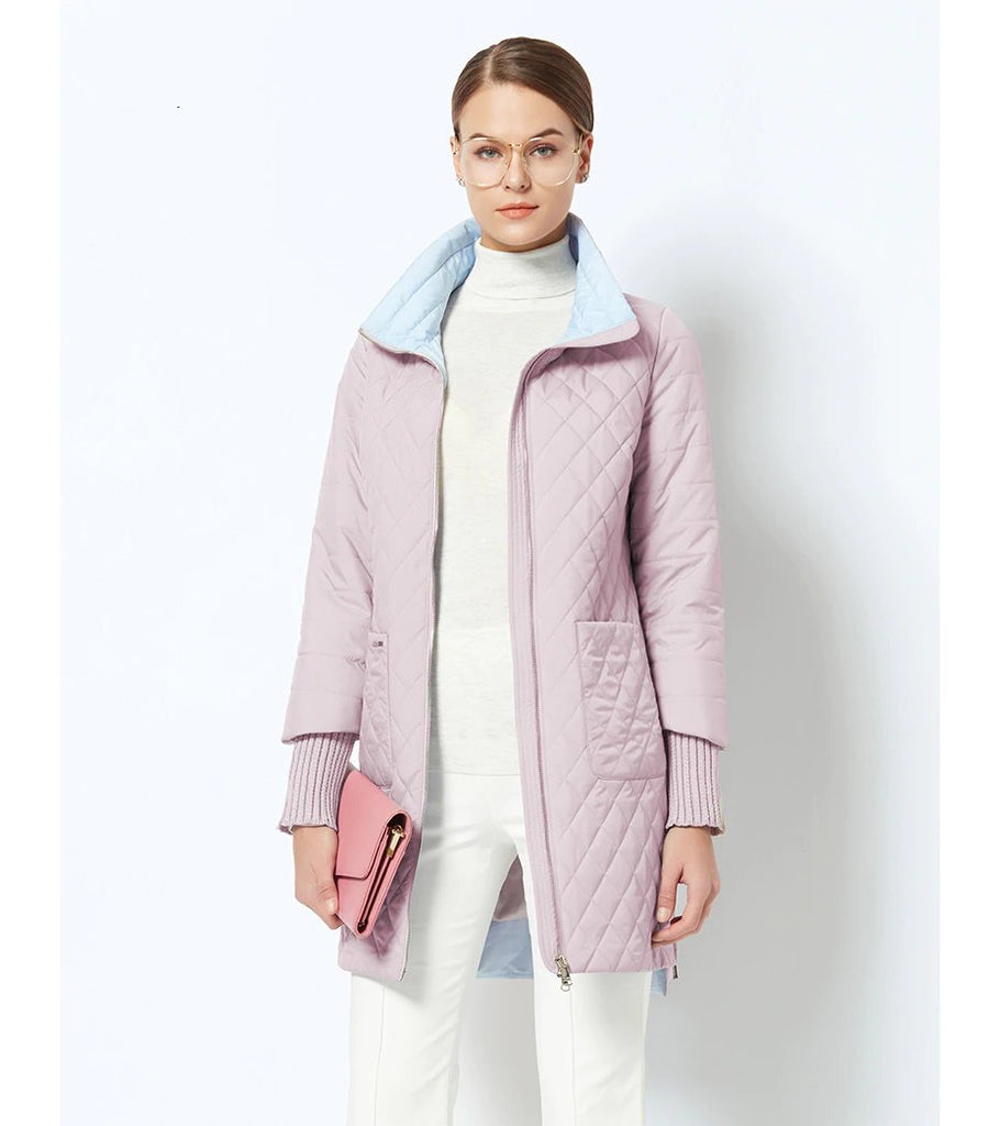 Women's Spring/Autumn Jacket With Standing Collar