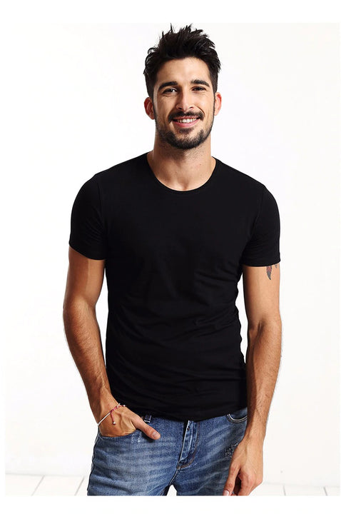 Men's Summer Cotton Skinny T-Shirt