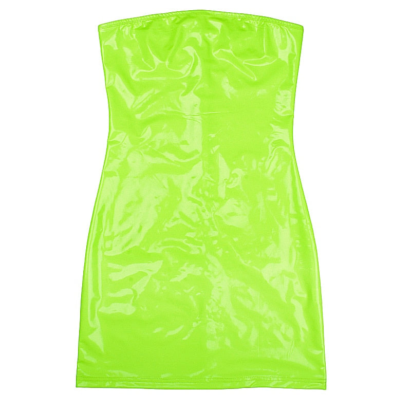 Women's Summer PU Leather Slash-Neck Sleeveless Dress