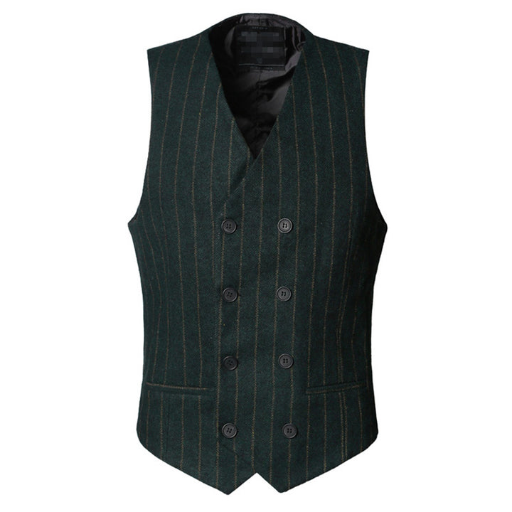 Men's Winter Casual European Style Striped Cotton Slim Fit Vest