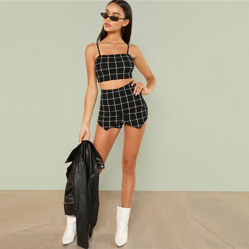 Women's Summer Plaid Back-Tie Crop Top&Shorts Set | Two-Piece Stretchy Romper