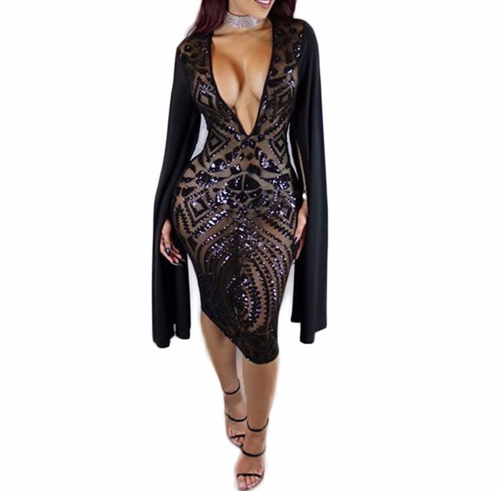 Women's Party Dress With Sequins - Zorket