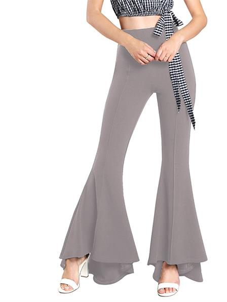 Women's Spring/Autumn High Waist Flare Pants With Bell Bottom