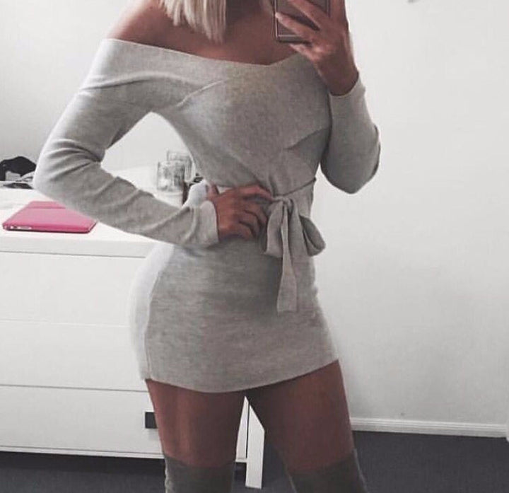 Women's Deep V-Neck Long Sleeve Knitted Mini Dress - Zorket