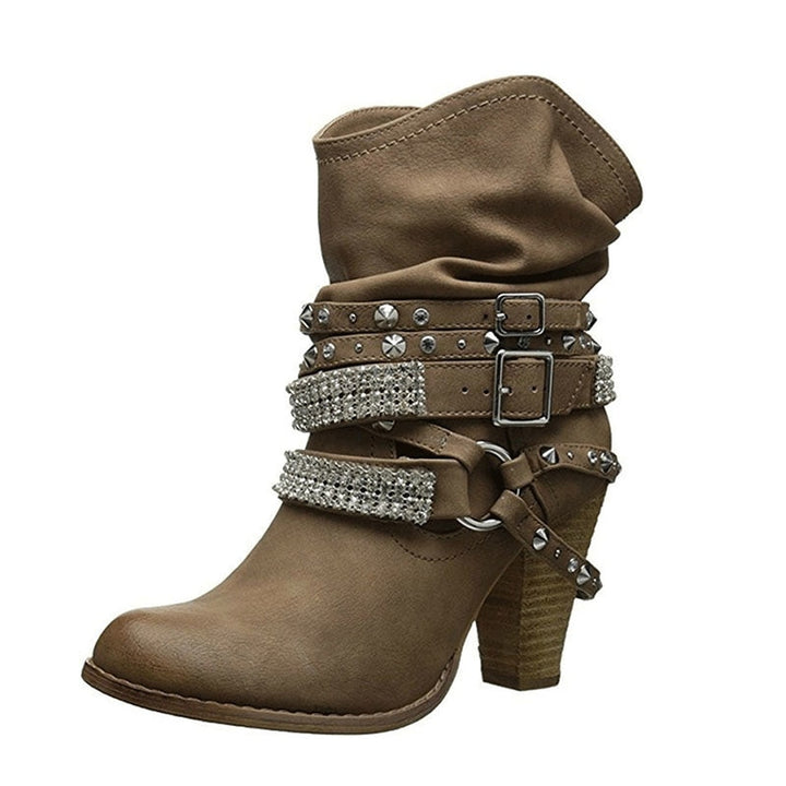 Women's Autumn/Winter PU Leather High-Heeled Ankle Boots With Decorative Buckles