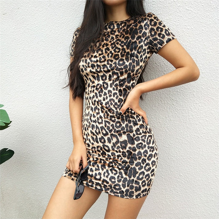 Women's Spring Short-Sleeved Mini Dress With Leopard Print
