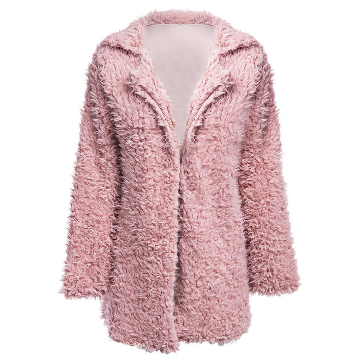 Women's Winter Warm Faux Fur Long-Sleeved Coat With Turn-Down Collar