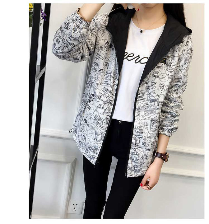 Women's Spring/Autumn Hooded Two-Side-Wear Cartoon-Printed Loose Windbreaker