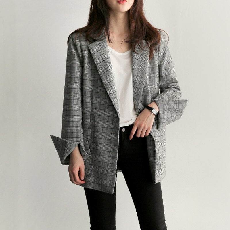 Women's Spring/Autumn Casual Plaid Office Blazer With Split Sleeves
