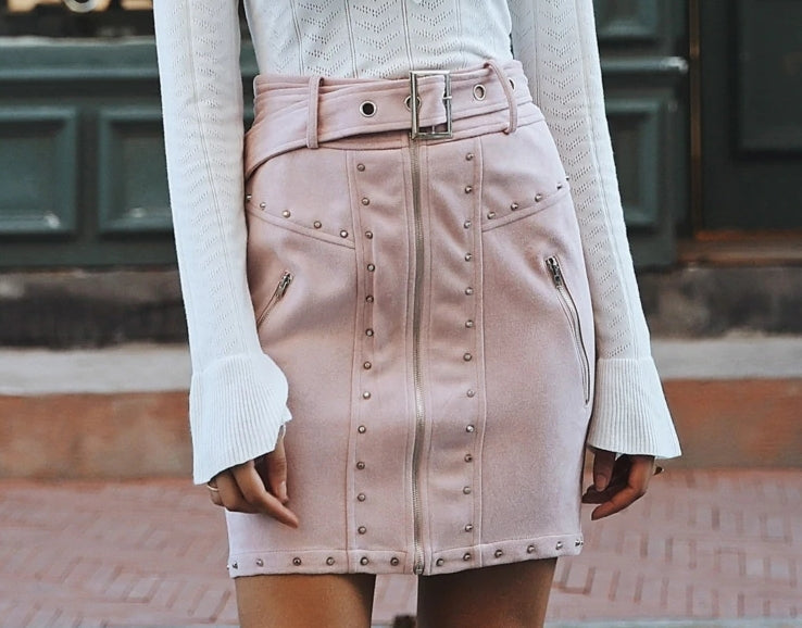 Women's Suede Front Zipper Mini-Skirt