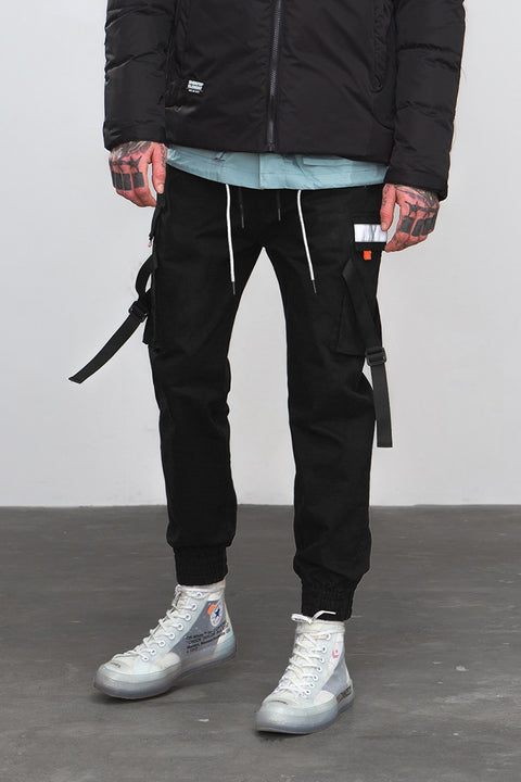 Men's Autumn Casual Elastic Waist Joggers With Pockets And Tapes