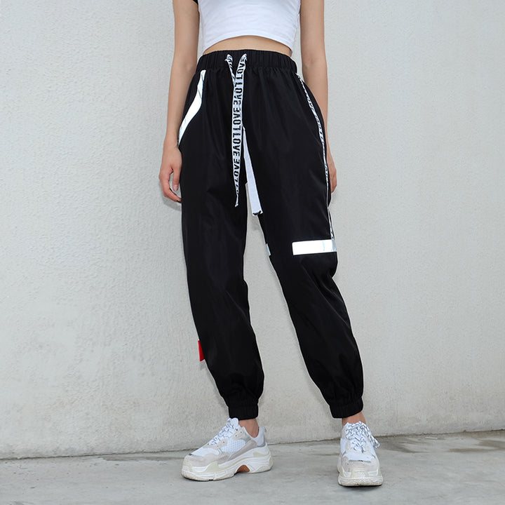 Women's Autumn High-Waist Striped Patchwork Fitness Pants