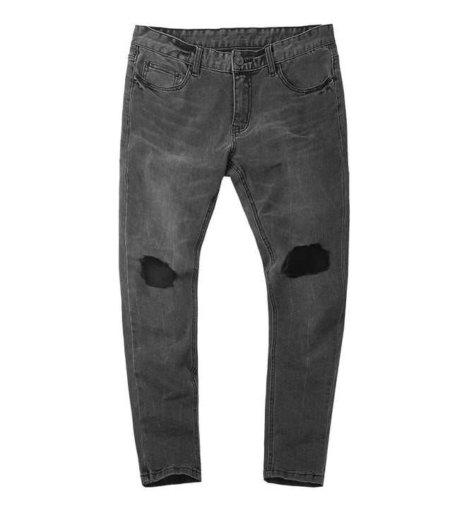 Men's Spring/Autumn Cotton Washed Elastic Slim Jeans With Decorative Holes