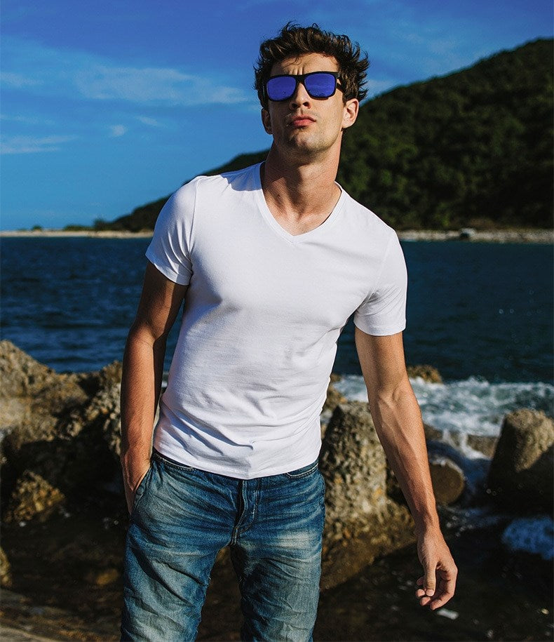 Men's Summer Casual Basic V-Neck T-Shirt