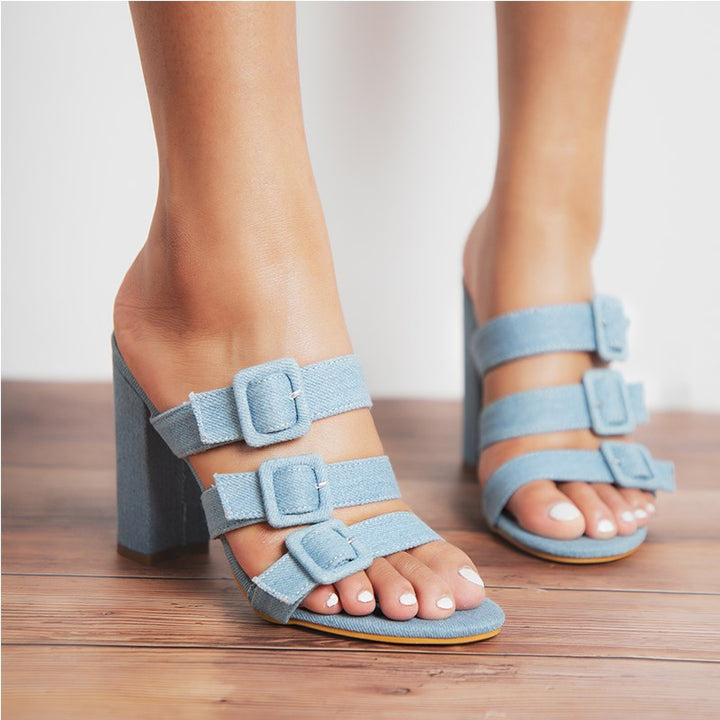 Women's Summer Denim Square-Heeled Flip Flops Decorated With Buckles