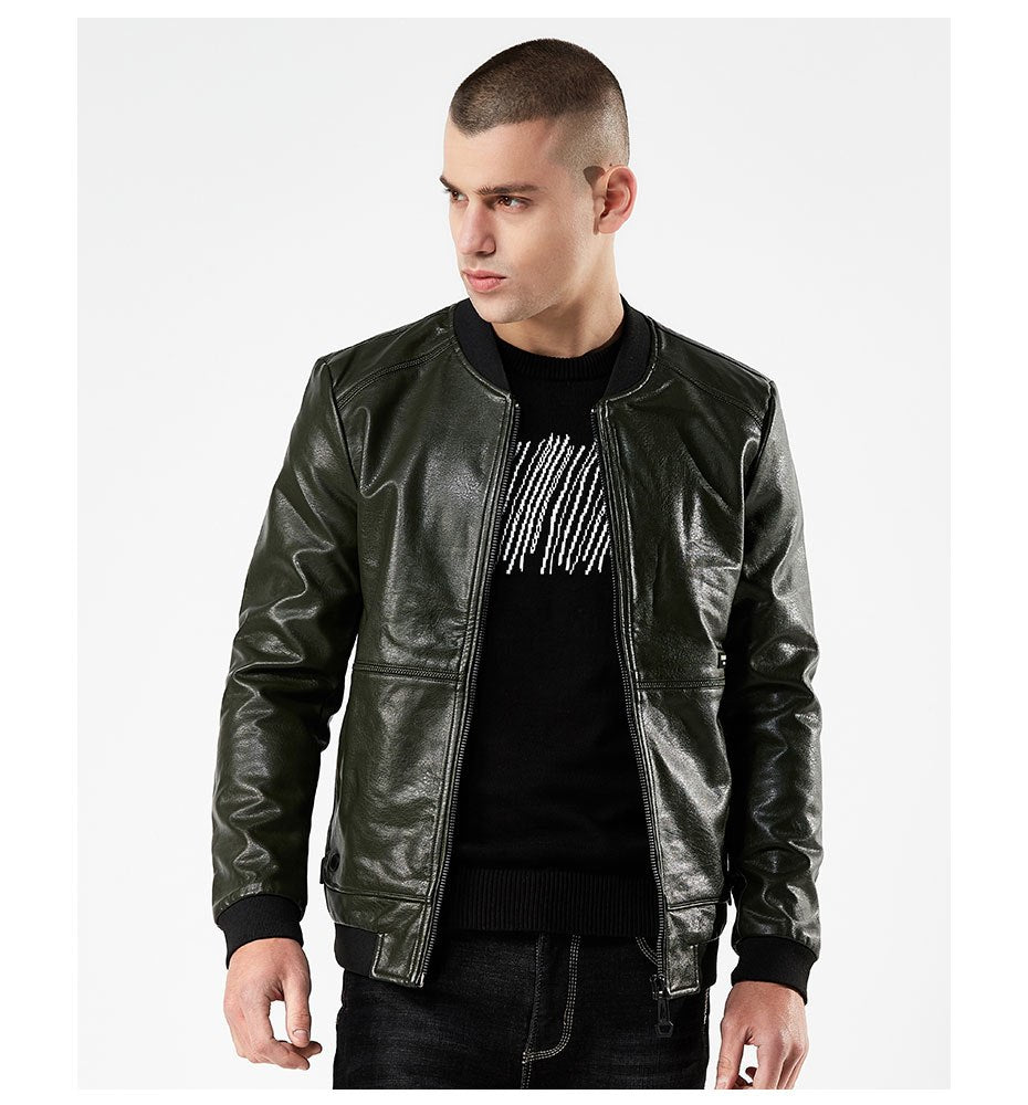 Men's Spring/Autumn Windproof PU Leather Rider Jacket | Men's Bomber