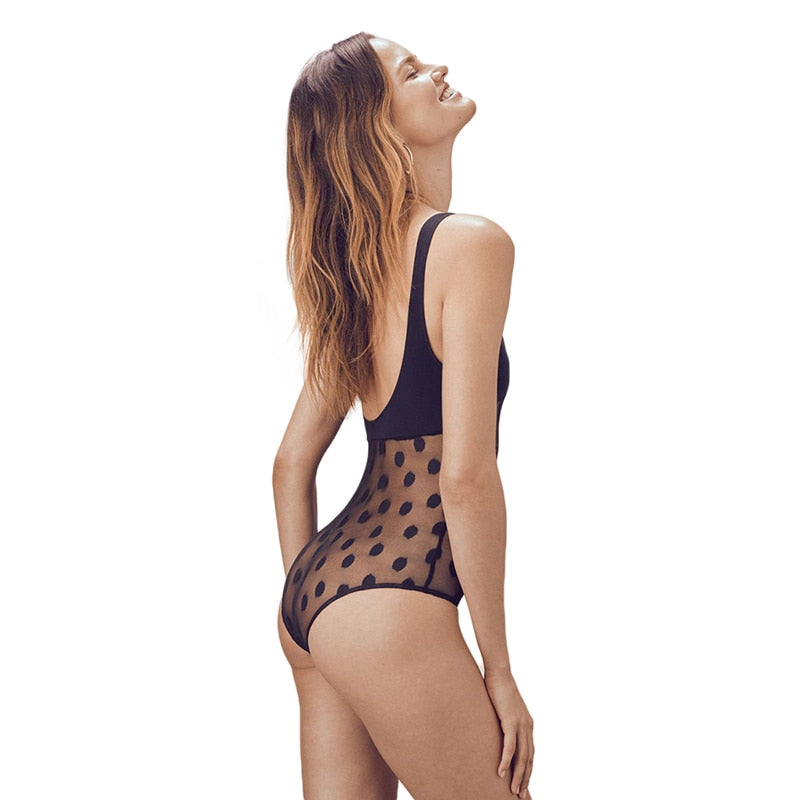 Women's Summer Sleveeless Lace Transparent Bodysuit With Dots