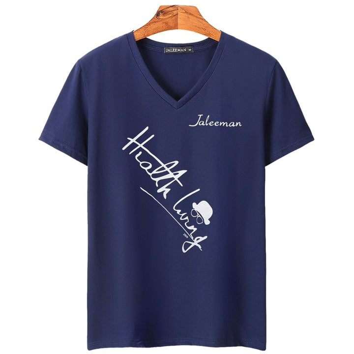 Men's Summer V-Neck Short-Sleeved T-Shirt With Printed Letters