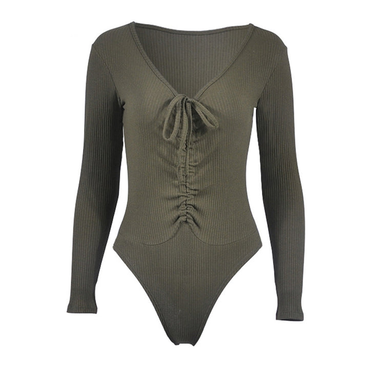 Women's Autumn Rib Knitted V-Neck Ruched Long-Sleeved Bodysuit